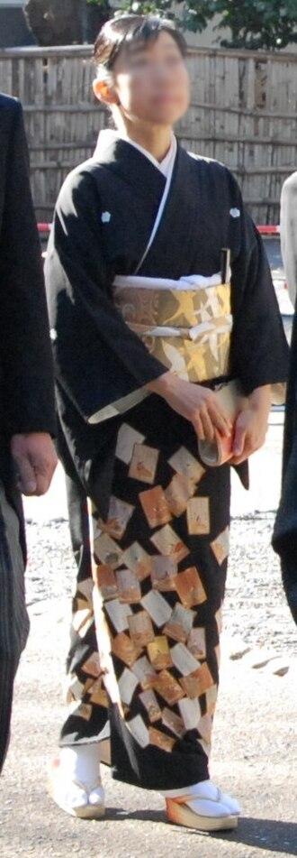 Tomesode - Black tomesode at a wedding.