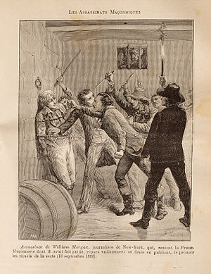 William Morgan (anti-Mason) - The assassination of William Morgan, engraved by artist Pierre Méjanel.