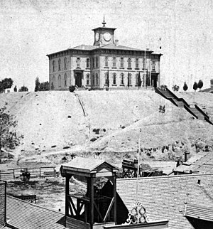 Los Angeles High School - Original LAHS location, on Poundcake Hill, 1873.