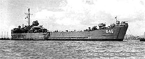 LST-846 at anchor in Hong Kong, 30 September 1948