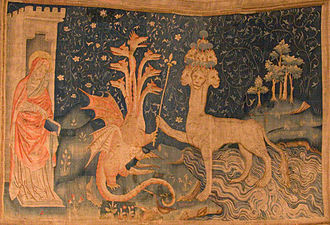 The Beast (Revelation) - La Bête de la Mer (from the Tapisserie de l'Apocalypse in Angers, France). A medieval tapestry, this detail of which shows John, the Dragon, and the Beast of the Sea.