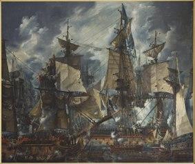 Флагман шведского флота «Густав III» после битвы при Хогланде. 1788 год