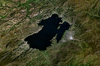 Boyacá Department - Satellite view of Lake Tota. Aquitania is the town in the east side of the lake