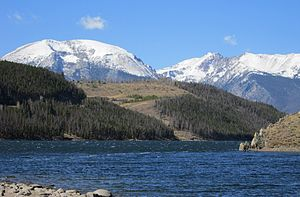 Gore Range - The southern end of the Gore Range seen from Dillon Reservoir.