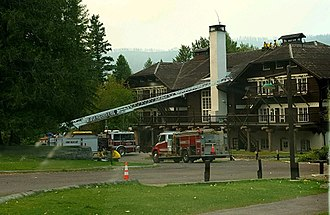 Sprague Fire - Fire engines stationed at Lake McDonald Lodge involved in structural fire protection efforts on September 4, 2017.