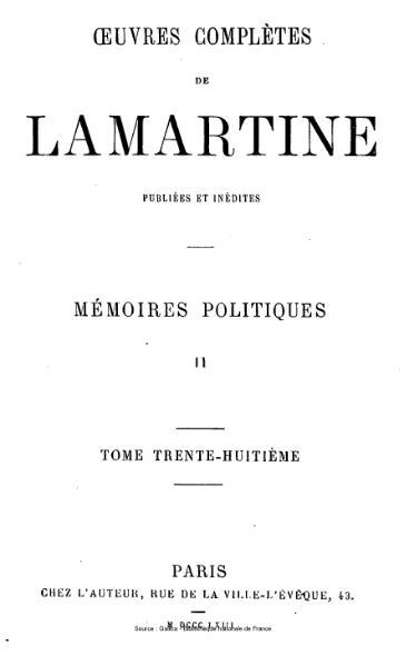 File:Lamartine - Œuvres complètes de Lamartine, tome 38.djvu
