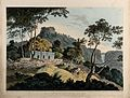 Landscape at Rohtasgarh, Bihar. Coloured aquatint by Thomas Wellcome V0050464.jpg
