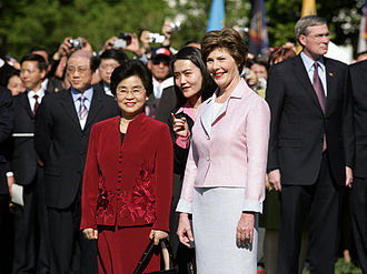 Liu Yongqing - Liu, in red, with former First Lady of the United States Laura Bush at the White House in 2006.