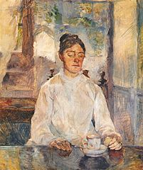 The artist's mother, comtesse Adèle de Toulouse-Lautrec, at breakfast, Malromé Chateau