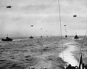 Line of communication - Convoy of ships supporting Allied forces in the invasion of Normandy in June 1944 during the Second World War.