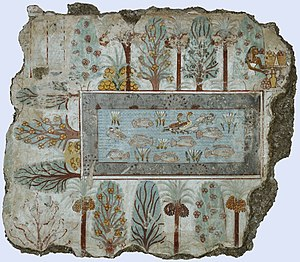 History of gardening - Rectangular fishpond with ducks and lotus planted round with date palms and fruit trees, in a fresco from the Tomb of Nebamun, Thebes, 18th Dynasty