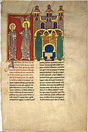 Leaf from a Beatus Manuscript- the Angel of the Church of Sardis with Saint John MET DT6704.jpg