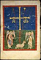 Leaf from a Beatus Manuscript- the Lamb at the Foot of the Cross, Flanked by Two Angels; The Calling of Saint John with the Enthroned Christ flanked by Angels and a Man Holding a Book MET DT6700.jpg