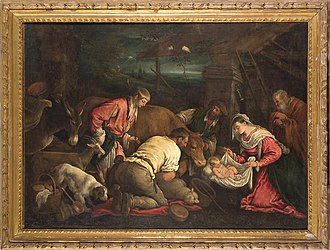 Leandro Bassano - Leandro Bassano (June 10, 1557 – April 15, 1622), also called Leandro dal Ponte, Adoration of the Shepherds, oil on canvas, 135 x 100 cm, private collection.