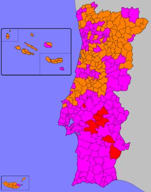 Portuguese legislative election, 1995 - Image: Legislativas portuguesas de 1995 (Mapa)