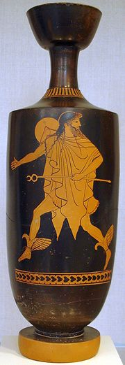 Hermes hastens bearing his kerykeion, on an Attic lekythos, ca 480-470 BC, attributed to the Tithonos Painter