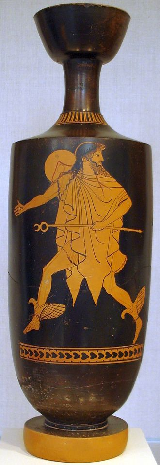 Caduceus - Hermes hastens bearing his kerukeion, on an Attic lekythos, c. 475 BC, attributed to the Tithonos Painter