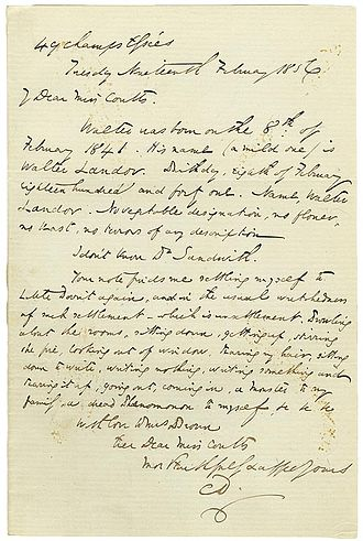 Letters of Charles Dickens - A letter to Angela Burdett-Coutts, written from the Champs-Élysées, Paris in 1856