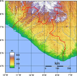 Geography of Liberia - A topographic map of Liberia