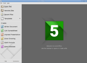 LibreOffice 5.1 Start Center