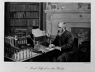 Lilford Hall - Thomas Powys, 4th Baron Lilford, in the Library at Lilford Hall