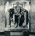 """Lincoln Statue, The Lincoln Tomb, Oak Rideg Cemetery, Springfield, IL- plaque states, """"original in Lincoln Memorial Washington, D. C. Daniel Chester French, Sculptor""""- 1953.jpg"""