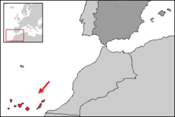 Location of the Canary Islands in relation to the rest of Spain.
