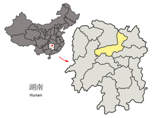 Location of Yiyang City jurisdiction in Hunan