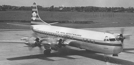 KLM Lockheed Electra turboprop airliner in 1965 Lockheed 188 Electra PH-LLD KLM 07.65.jpg