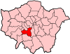 Location of the London Borough of Wandsworth in Greater London
