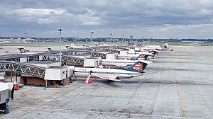 Heathrow Terminal 1 - British European Airways aircraft at Terminal 1 in 1971