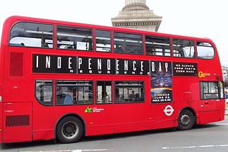 Independence Day: Resurgence - An advertisement for the film on a double decker bus in London