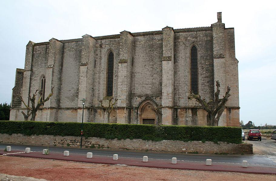 Loupian (Hérault) - église Sainte-Cécile (façade nord et porte des morts). Au premier plan, nef de l'église paléochrétienne.
