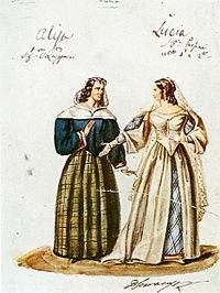 Kostümskizze für Lucia und Alisa in Lucia di Lammermoor, 1835 (Quelle: Wikimedia)