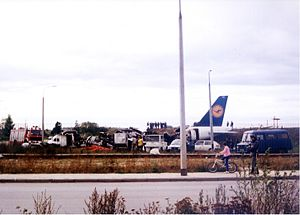 Lufthansa Flight 2904 - Wreckage of Flight 2904 on 15 September 1993