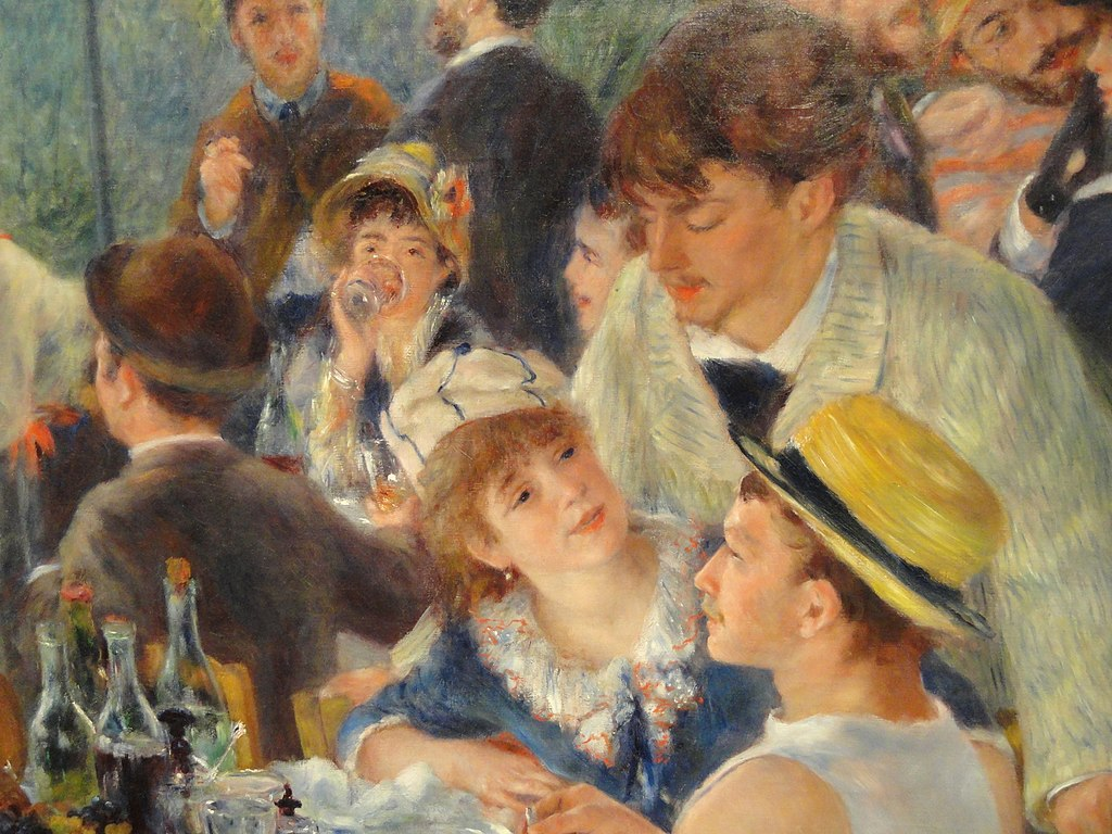 renoir luncheon of the boating party In pierre-auguste renoir's luncheon of the boating party, he captures what appears to be 14 good friends (and one fluffy dog) chatting amiably while enjoying a.