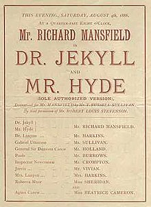 "Printed playbill shows in large text ""Mr. Richard Mansfield in Dr. Jekyll and Mr. Hyde"", with a list of cast members in smaller text below."