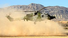 A Lynx AH9A from 847 Naval Air Squadron, conducting dust landings at Naval Air Facility El Centro, California.