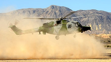 A Lynx AH9A from 847 Naval Air Squadron, conducting dust landings at Naval Air Facility El Centro, California. Lynx Mk9A Helicopter at Naval Air Facility El Centro, USA MOD 45154523.jpg