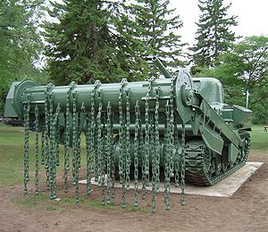 Mine flail - A preserved, World War 2, Sherman Crab – an M4 Sherman tank fitted with a flail