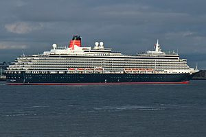 MS Queen Victoria - Queen Victoria at anchor in the River Mersey, on 25 May 2015, after the Cunard 175 celebration