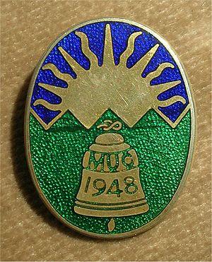 Manchester Universities Guild of Change Ringers - MUG lapel badge c. 1973