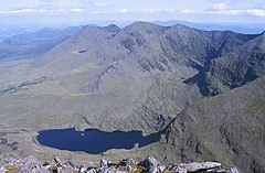 Macgillycuddy's Reeks, Lough Callee and Cnoc na Péiste (Knocknapeasta) - geograph.org.uk - 1434579.jpg