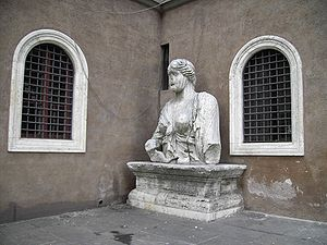 "San Marco Evangelista al Campidoglio, Rome - Madama Lucrezia is one of the ""talking statues"" of Rome, and is located next to the basilica entrance. It was once the bust of a statue of the goddess Isis, to whom a temple was dedicated in Rome not far from its current location."