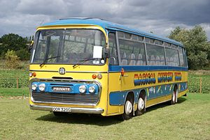 Magical Mystery Tour (film) - Replica bus of the same type and livery used in the film.