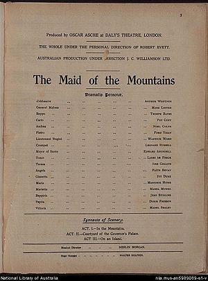 The Maid of the Mountains - Cast list from programme, 1917