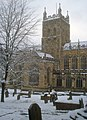 Malvern Priory tower in the snow - geograph.org.uk - 1382843.jpg