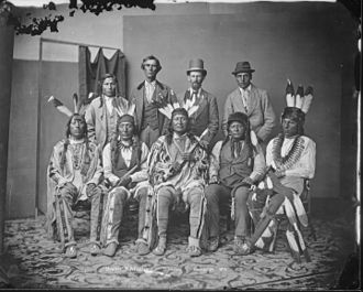 Arikara - Mandan and Arikara delegation. Seated at center: Arikara chief Son of the Star
