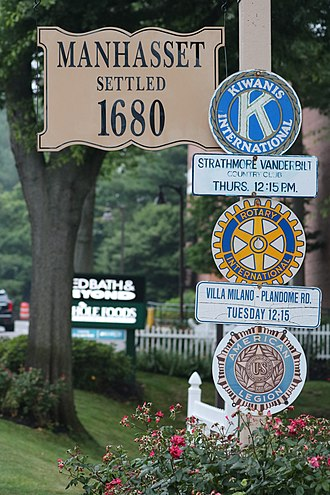 Manhasset, New York - Manhasset sign, seen entering from Roslyn to the east