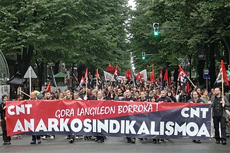 Anarchism in Spain - May Day: CNT demonstration in Bilbao.